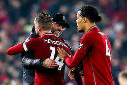 Liverpool manager Jurgen Klopp celebrates victory over Newcastle United with Jordan Henderson of Liverpool - Mandatory by-line: Robbie Stephenson/JMP - 26/12/2018 - FOOTBALL - Anfield - Liverpool, England - Liverpool v Newcastle United - Premier League