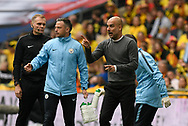 Manchester City manager Pep Guardiola directing his players after City score the opening goal during the The FA Cup Final match between Manchester City and Watford at Wembley Stadium, London, England on 18 May 2019.