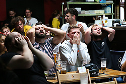 © Licensed to London News Pictures. 29/06/2021. London, UK. Fans react to the England v Germany Euro 2020 football match seen on the big screen at The Salisbury Hotel in north London. Photo credit: Dinendra Haria/LNP