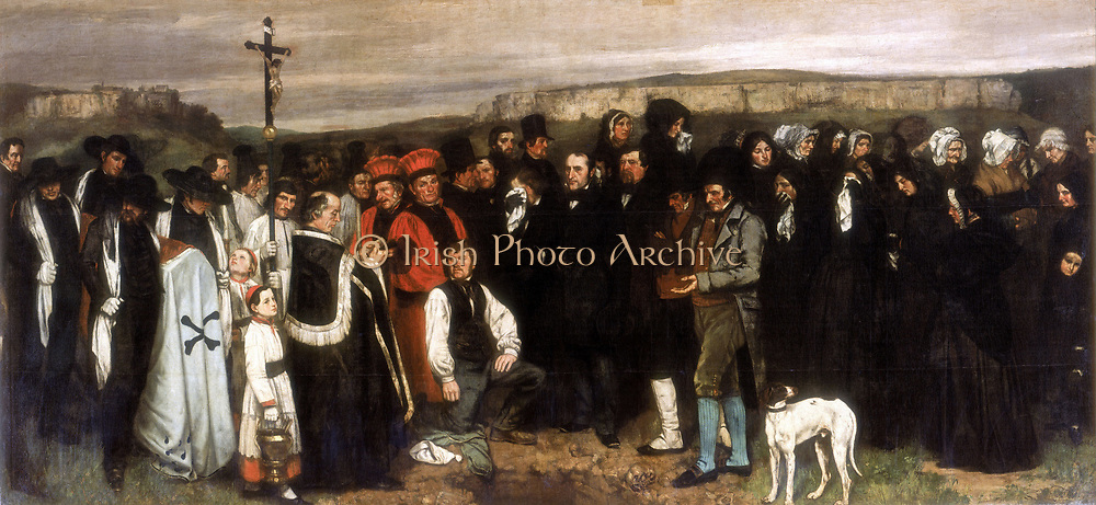 Funeral at Ornans' c1844.  Gustave Courbet (1819-1877) French painter.