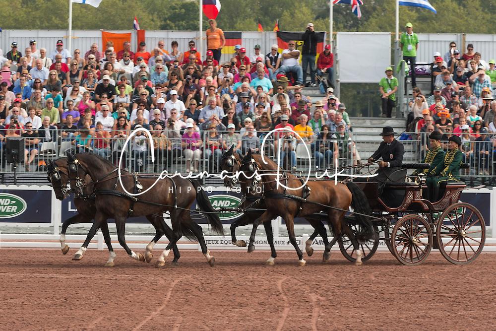 Jozsef Dobrovitz, (HUN), Amadeus, Carlo, Kinzhal, Torino, Waltstar - Driving dressage day 2 - Alltech FEI World Equestrian Games™ 2014 - Normandy, France.<br /> © Hippo Foto Team - Dirk Caremans<br /> 05/09/14