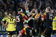 Chiefs' Arizona Taumalolo celebrates his try. Super Rugby rugby union match, Chiefs v Hurricanes at Waikato Stadium, Hamilton, New Zealand. Saturday 28th April 2012. Photo: Anthony Au-Yeung / photosport.co.nz