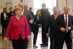 Germany, Berlin - June 15, 2018.The German Chancellor Angela Merkel during the ''70 Years of Social Market Economy'' anniversary event at the Federal Ministry for Economic Affairs and Energy in Berlin.Reiner Hoffmann, Olaf Scholz, Angela Merkel, Peter Altmaier, Ingo Kramer and Dieter Kempf (Credit Image: © Darmer/Davids/Ropi via ZUMA Press)
