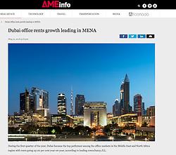 AMEinfo website; skyline of Dubai UAE