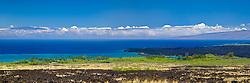 lava field, palm tree groves, Kiholo Bay, Haleakala volcanic mountain (10,023 ft) of Maui and Pacific Ocean in backgound, scenic view from Kohala Coast, Big Island, Hawaii, USA