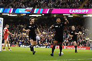 Waisake Naholo of the New Zealand  celebrates after he scores his teams 1st try. Rugby World Cup 2015 pool c match, New Zealand v Georgia at the Millennium Stadium in Cardiff, South Wales  on Friday 2nd October 2015.<br /> pic by  Andrew Orchard, Andrew Orchard sports photography.