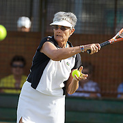 Jeannine Lieffrig, South Africa,  in action in the 75 Womens Singles during the 2009 ITF Super-Seniors World Team and Individual Championships at Perth, Western Australia, between 2-15th November, 2009.
