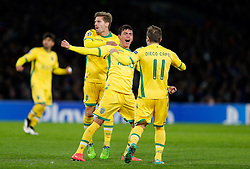 Jonathan Silva of Sporting celebrates with Adrien Silva and Diego Capel after scoring a goal to make it 2-1 - Photo mandatory by-line: Rogan Thomson/JMP - 07966 386802 - 10/12/2014 - SPORT - FOOTBALL - London, England - Stamford Bridge - Sporting Clube de Portugal - UEFA Champions League Group G.