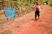08 APRIL 2010 - NAKHON PHANOM, THAILAND: An ant hunter walks back to her village after collecting red ants in mango trees. She said the ants favor dry weather and this year has been an excellent year for the ants (which is a delicacy among the local people). But she worries that the dry weather could harm the mango trees and without the mango trees there would be no ants. The region is in the midst of a record setting drought and the Mekong River is at its lowest point in nearly 50 years, setting up an environmental disaster the region has never seen before. Many of the people who live along the river farm and fish. They claim their crops yields are greatly reduced and that many days they return from fishing with empty nets. The river is so shallow now that fisherman who used to go out in boats now work from the banks and sandbars on foot or wade into the river. In addition to low river levels the Isan region of Thailand is also in the midst of a record drought and heat wave. Farmers have been encouraged to switch from rice to less water intensive crops and to expect lower yields. Farmers here rely more on rain fall than irrigation to water their crops.       PHOTO BY JACK KURTZ