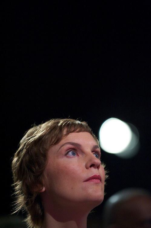 Justine Thornton, Ed Miliband's partner, listens to the leader's speech to delgates during the Labour Party Conference in Manchester on 28 September 2010.
