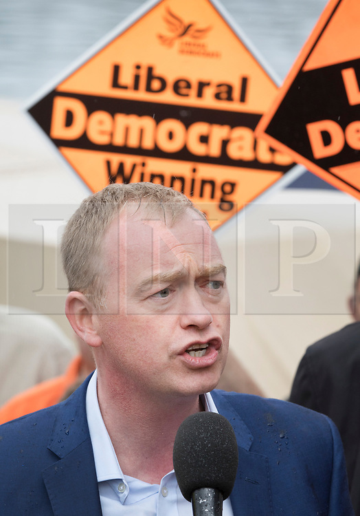 © Licensed to London News Pictures. 01/05/2017. London, UK. Liberal Democrat party leader Tim Farron speaks to supporters - as a day of campaigning begins in Kingston-Upon-Thames. The general election is on June 8th 2017. Photo credit: Peter Macdiarmid/LNP