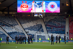 Rangers players arrive at hampden during the Betfred Cup semi final match at Hampden Park, Glasgow.