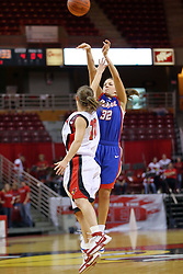 25 November 2007: Deirdre Naughton shoots over Kristi Cirone. The DePaul Blue Demons defeated the Illinois State Redbirds 80-75 on Doug Collins Court at Redbird Arena in Normal Illinois