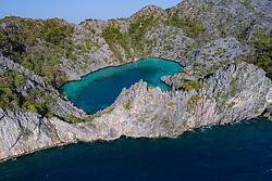 Luftaufnahme von Secret Lagoon, Myanmar, Secret Lagoon, Andamanensee, Indischer Ozean / Aerial View of Secret Lagoon, Myanmar, Andaman Sea, Indian Ocean