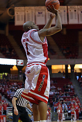 06 December 2008: Emmanuel Holloway pumps in a 3 pointer during a game where the  Illinois State University Redbirds extended their record to 9-0 with a 76-70 win over the Eagles of Morehead State on Doug Collins Court inside Redbird Arena on the campus of Illinois State University in Normal Illinois