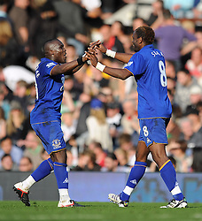 23.10.2011, Craven Cottage, London, ENG, PL, FC Fulham vs FC Everton, im Bild Everton's Louis Saha celebrates scoring his side's second goal with team-mate Royston Drenthe // during the Premier League match between FC Fulham vs FC Everton, at Craven Cottage stadium, London, United Kingdom on 23/10/2011. EXPA Pictures © 2011, PhotoCredit: EXPA/ Propaganda Photo/ Chris Brunskill +++++ ATTENTION - OUT OF ENGLAND/GBR+++++