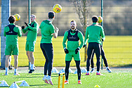 Martin Boyle (#10) of Hibernian FC (right) during the training session for Hibernian FC at the Hibs Training Centre, Ormiston, Scotland on 26 February 2021, ahead of the SPFL Premiership match against Motherwell.