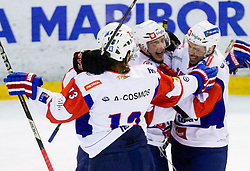 Players of Slovenia celebrate during Friendly Ice-hockey match between National teams of Slovenia and Austria on April 19, 2013 in Ice Arena Tabor, Maribor, Slovenia. (Photo By Vid Ponikvar / Sportida)