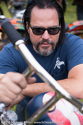 Invited Builder Caleb Owens and his BF6 custom Harley-Davidson Shovelhead on Day one of the Born Free Vintage Chopper and Classic Motorcycle Show at the Oak Canyon Ranch in Silverado, CA. USA. Saturday, June 28, 2014.  Photography ©2014 Michael Lichter.