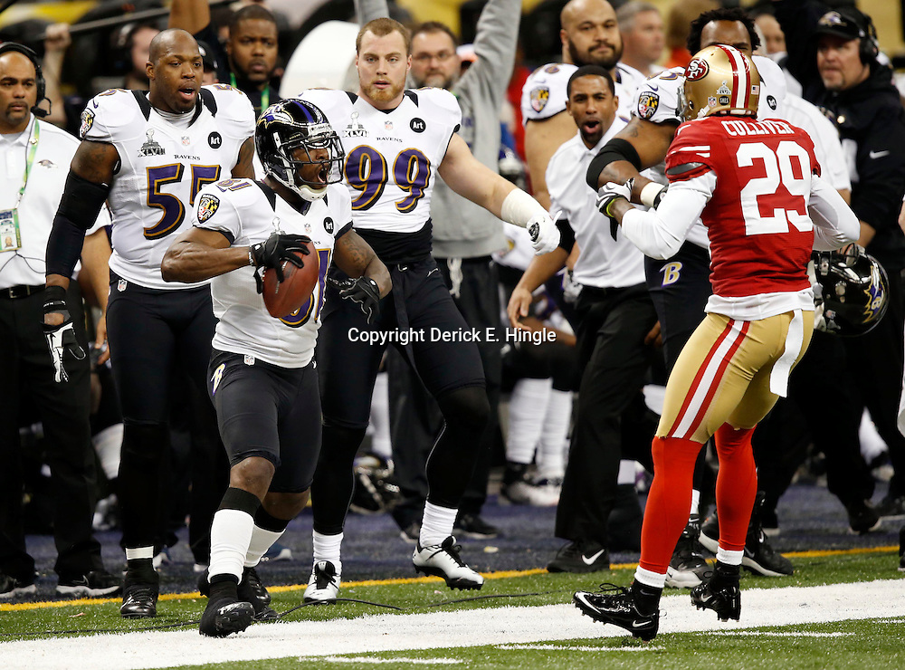 Feb 3, 2013; New Orleans, LA, USA; Baltimore Ravens wide receiver Anquan Boldin (81) taunts San Francisco 49ers defensive back Chris Culliver (29) after catching a pass in the first quarter in Super Bowl XLVII at the Mercedes-Benz Superdome. Mandatory Credit: Derick E. Hingle-USA TODAY Sports