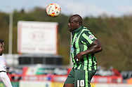Bayo Akinfenwa forward for AFC Wimbledon (10) in action during the Sky Bet League 2 match between Stevenage and AFC Wimbledon at the Lamex Stadium, Stevenage, England on 30 April 2016. Photo by Stuart Butcher.
