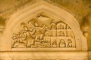 Carving detail of a cenotaph of the Maharajahs at the Royal Gaitor (Gatore ki Chhatryan), Jaipur, India