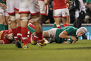Ultan Dillane of Ireland scores a try during the 2016 Guinness Series  autumn international rugby match, Ireland v Canada at the Aviva Stadium in Dublin, Ireland on Saturday 12th November 2016.<br /> pic by  John Halas, Andrew Orchard sports photography.