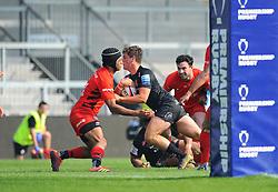 Sam Maunder of Exeter Braves is prevented from scoring a try- Mandatory by-line: Nizaam Jones/JMP - 22/04/2019 - RUGBY - Sandy Park Stadium - Exeter, England - Exeter Braves v Saracens Storm - Premiership Rugby Shield