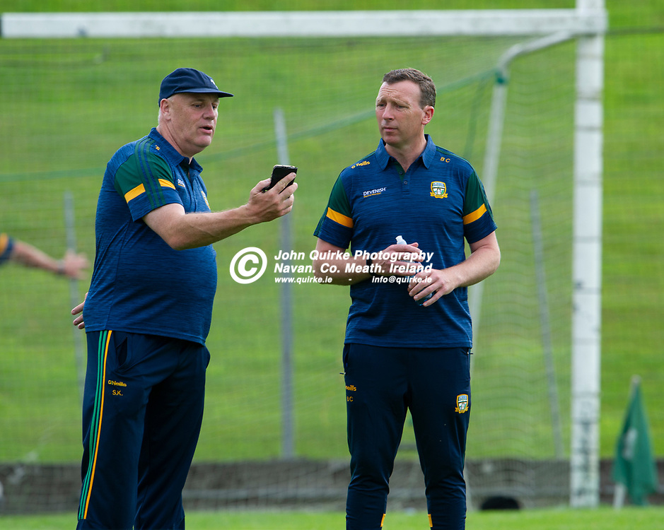 15-07-21. Meath v Dublin - Eirgrid Leinster U-20 Football Championship Semi-Final at Pairc Tailteann, Navan.<br /> Meath Selector Sean Kelly (Left) and Barry Callaghan, Meath Manager.<br /> Photo: John Quirke / www.quirke.ie<br /> ©John Quirke Photography, 16 Proudstown Road, Navan. Co. Meath. (info@quirke.ie / 046-9028461 / 087-2579454).
