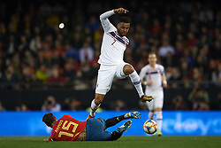 March 23, 2019 - Valencia, Valencia, Spain - Joshua King of Norway and Sergio Ramos of Spain competes for the ball during the 2020 UEFA European Championships group F qualifying match between Spain and Norway at Estadi de Mestalla on March 23, 2019 in Valencia, Spain. (Credit Image: © Jose Breton/NurPhoto via ZUMA Press)