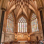 Nave of Wells Cathedral in Wells, Somerset, United Kingdom. Some of the building dates back to the 10th Century.