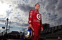 Nascar driver Juan Pablo Montoya poses for a portrait on location at Daytona International Speedway in Daytona Beach, FL on February 7,2012.<br /> (AP Photo/Tom DiPace)