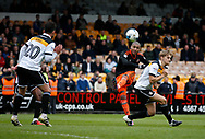 Leon Clarke of Sheffield Utd has a shot on goal during the English League One match at Vale Park Stadium, Port Vale. Picture date: April 14th 2017. Pic credit should read: Simon Bellis/Sportimage