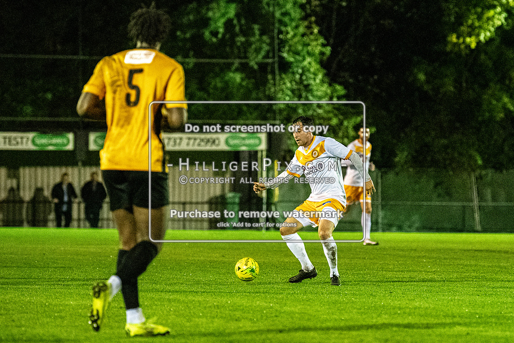 MERSTHAM, UK - OCTOBER 15: Charlie Allen, of Cray Wanderers FC, during the BetVictor Isthmian Premier League match between Merstham and Cray Wanderers at The Whisky Bible Stadium on October 15, 2019 in Merstham, UK. <br /> (Photo: Jon Hilliger)