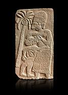 Pictures & images of the North Gate Hittite sculpture stele depicting a women breast feeding a child. 8the century BC.  Karatepe Aslantas Open-Air Museum (Karatepe-Aslantaş Açık Hava Müzesi), Osmaniye Province, Turkey. Against black background