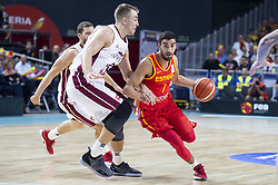 September 17, 2018 - Madrid, Spain - Jaime Fernandez of Spain and Martins Meiers of Latvia during the FIBA Basketball World Cup Qualifier match Spain against Latvia at Wizink Center in Madrid, Spain. September 17, 2018. (Credit Image: © Coolmedia/NurPhoto/ZUMA Press)