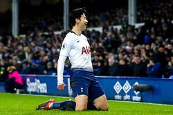 Son Heung-Min of Tottenham Hotspur celebrates scoring a goal to make it 5-2 - Mandatory by-line: Robbie Stephenson/JMP - 23/12/2018 - FOOTBALL - Goodison Park - Liverpool, England - Everton v Tottenham Hotspur - Premier League