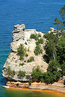 Pictured Rocks National Lakeshore in Michigan. Image taken with a Nikon D200 and 80-400 mm VR lens (ISO 100, 85 mm, f/4.5, 1/750 sec).