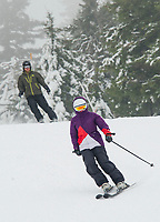 """It's beginning to look a lot like """"ski season"""" as Gunstock's trails get some help from Mother Nature combined with their snow making system to make great early conditions for skiers on Tuesday afternoon.  (Karen Bobotas/for the Laconia Daily Sun)"""