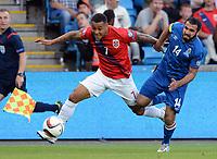 Fotball <br /> UEFA Euro 2016 Qualifying Competition<br /> 12.06.2015<br /> Norge v Aserbajdsjan / Norway v Aserbajdsjan<br /> Foto: Morten Olsen/Digitalsport<br /> <br /> Joshua King (7) - NOR<br /> Rashad Sadygov (14) - AZB