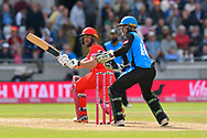 Dane Vilas of Lancashire hits the ball to the boundary for four runs during the Vitality T20 Finals Day Semi Final 2018 match between Worcestershire Rapids and Lancashire Lightning at Edgbaston, Birmingham, United Kingdom on 15 September 2018.