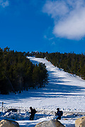Lots of snow, empty pistes. Ski stations closed, 18 December 2020, in Font Romeu, Pyrenees, Orientales, France, due to Coronavirus restrictions.