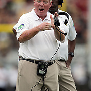UCF Knights head coach George O'Leary screams for a timeout during an NCAA football game between the South Carolina Gamecocks and the Central Florida Knights at Bright House Networks Stadium on Saturday, September 28, 2013 in Orlando, Florida. (AP Photo/Alex Menendez)