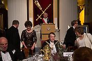 MRS. KATE MAVOR; THE LORD MAYOR OF LONDON; ABOVE; TOASMASTER JOHN HOLLINGWORTH, The National Trust for Scotland Mansion House Dinner. Mansion House, London. 16 October 2013