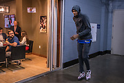 Golden State Warriors forward Kevin Durant prepares to take the court in an area near the locker room before playing the Houston Rockets in game four of the NBA Western Conference Semifinals at the Toyota Center in Houston, Texas, U.S., May 6, 2019.
