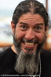 Custom bike builder Xavier Muriel at the Flying Piston Builder Breakfast at the Buffalo Chip during the 78th annual Sturgis Motorcycle Rally. Sturgis, SD. USA. Sunday August 5, 2018. Photography ©2018 Michael Lichter.