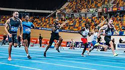 Christopher Garia, Raphael Bouju, Churandy Martina and winner Joris van Gool in action on the 60 meter final during AA Drink Dutch Athletics Championship Indoor on 20 February 2021 in Apeldoorn.