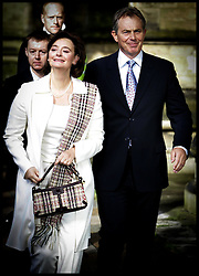 The Prime Minister Tony Blair and his wife Cherie arrive at All Saints Church,The Drive,Hove,for Sunday service PRESS ASSOCIATION Photo. Photo Credit should read:Andrew Parsons/PA