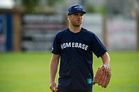 KELOWNA, CANADA - JUNE 28: 2019 Stanley Cup Champion Brayden Schenn of the St. Louis Blues stands in the field during the opening charity game of the Home Base Slo-Pitch Tournament fundraiser for the Kelowna General Hospital Foundation JoeAnna's House on June 28, 2019 at Elk's Stadium in Kelowna, British Columbia, Canada.  (Photo by Marissa Baecker/Shoot the Breeze)