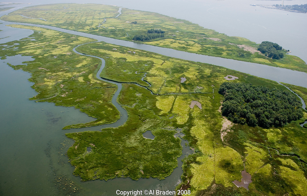 Aerial of Great Island and Back River,and Upper Island, Old Lyme, CT near the mouth of the Connecticut River.
